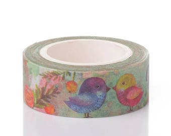 Washi Tape - Birdie Washi Tape - Tropical Washi Tape - Paper Tape - Planner Washi Tape - Washi - Decorative Tape - Deco Paper Tape - Birds