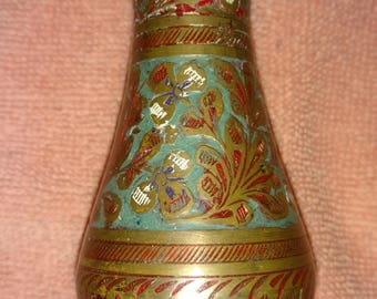 Indian Brass Vase with etched Floral Pattern