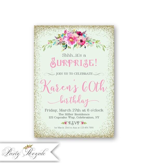 Sorpresa cumplea os invitaciones mujeres 60 invitaciones - Modelos de tarjetas de cumpleanos para adultos ...