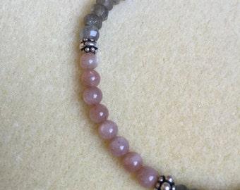 Peach Moonstone, Labradorite, Sterling Bracelet