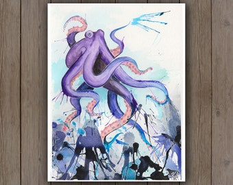 Watercolour Art Print - Octopus Splash / Purple Squid Ink Ocean / Splatter Handpainted Watercolor Painting / Nautical Gift