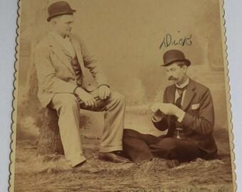 Two Men Goofing Off Smoking Cigar Cabinet Photo Chaps Wearing Bowler Hats