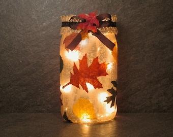 Autumn Leaves Mason Jar Light, Falling Leaves Light