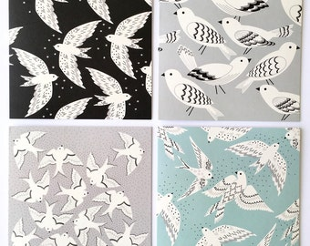 Set of Four Greetings cards / Gift set of cards / Bird cards / Monochrome series