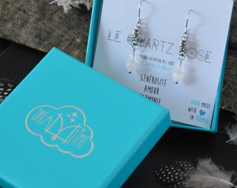 Month of birth July, in steel and rose quartz earrings jewelry personalized,