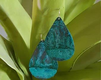 Copper Patina Teardrop Earings