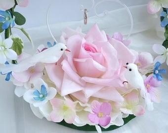 Flower ring pillow ,pink rose and white birds, garden wedding
