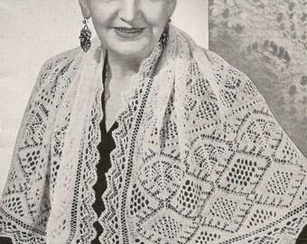 Vintage Shetland Shawl Scarf Cobweb Wool Diamond & Shell Pattern Traditional Heirloom Knitting Pattern  PDF Instant Download