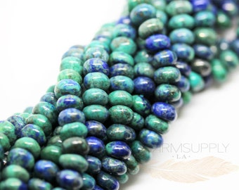Natural Chysocolla Azurite Rondelle Beads FULL STRAND  SP17-001