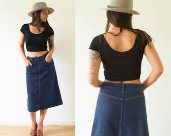 Vintage Denim Skirt/ 70's Jean Skirt/ High Waist Jean Skirt