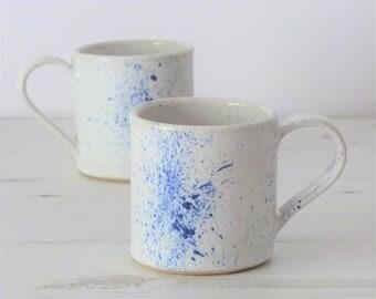 Handmade ceramic mug, pottery mug, white glaze, blue glaze, cobalt blue, coffee mug, tea mug, handmade gift, housewarming gift, wedding