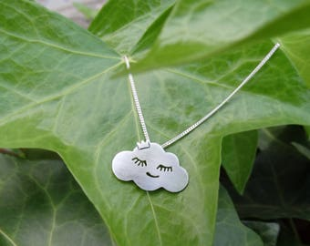 Silver cloud necklace, Cloud necklace, Sterling silver cloud necklace, Cloud pendant Silver women necklace Silver rain necklace Silver cloud
