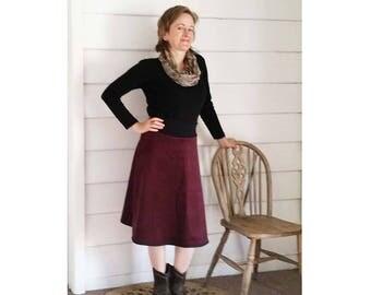Women's Winter Skirt Corduroy Maroon Skirt Aline Skirt Made to Order Australian Made Plus Size Skirt Pockets Skirt Mod Skirt Flare Skirt