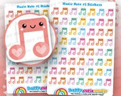 56 Cute Music Note/Musical/Singing/Concert Planner Stickers, Filofax, Erin Condren, Happy Planner, Kawaii, Cute Sticker, UK