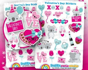 22 Cute Valentine's Day/Love/Date Night Planner Stickers, Filofax, Erin Condren, Happy Planner, ...