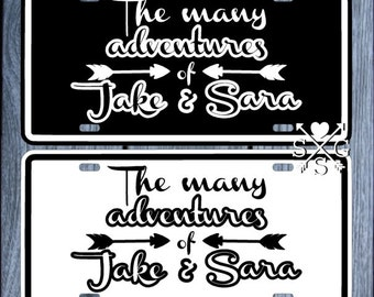 Many Adventures Couples Wedding Gift Anniversary Gift License Plate Couple Gift Car Tag Personalized Car Tag