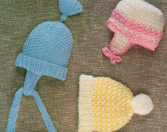 Baby Hat, Beanie And Cap, Knitting And Crochet Pattern. PDF Instant Download.