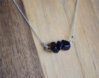 Silver Minimalistic necklace with Blue Goldstone