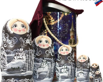 "Russian Nesting Doll - BIG SIZE - 7 dolls in 1 -  ""Winters Tale"" - Silver Night Color - Hand Painted in Russia"