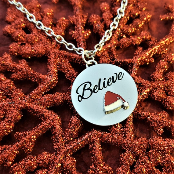 Believe Charm Necklace, First Christmas Gift, Believe Charms, Christmas Jewelry, Gift for Wife, Christmas Engagement Gift, Candy Cane Charms