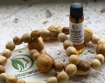 Palo Santo wood beads bracelet and Palo Santo oil:Protection bracelet-Smudging oil-Palo Santo wood-Smudging oil-Blessing oil-Energy clearing