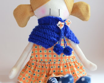 Fabric Doll - Handmade doll - Fantasy dress doll - Flower cloth doll - Cotton doll - little girl doll - soft doll - blond hair doll