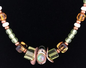 LAMPWORK Green and Orange BEAD Copper NECKLACE (Handcrafted)