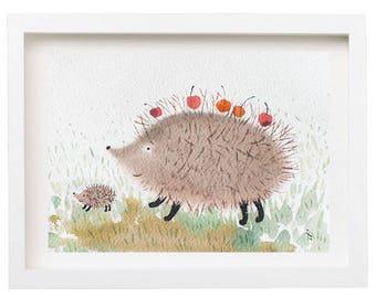 Spring Hedgehog, Hedgehog Art, Art in Frame, Original Art, Hedgehog, Art For Wall, Illustration, Animals Art,  Watercolor with Hedgehog