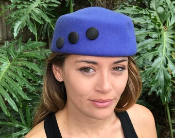 Pillbox hat, costume hat, blue vintage hat, purple hat, stewardess hat