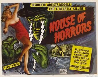 House of Horrors - retro horror movie poster print 11x17