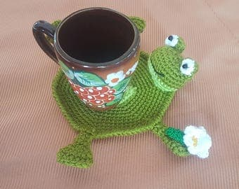 Gift for birthday Gift Idea kitchen table decor hostess gifts crochet home decor frog gift decor animal coaster frog funny coaster serving