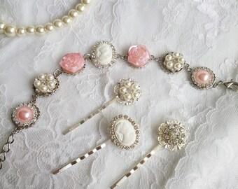 Pink Bridesmaid bracelet,  Victorian bracelet, powder pink bracelet, pink wedding, Marie Antoinette, Bridesmaids bracelet, OOAK,  pink pearl