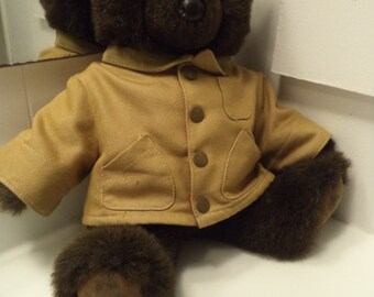 LL Bean Brown Teddy Bear with Khaki Tartan Lined LL Bean Field Coat RARE htf Large Man
