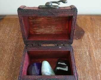Small wooden Trinket, Jewellery Box,  Box of Calm with Gemstones.