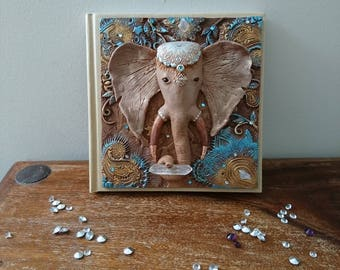Elephant journal, notebook, elephant, quartz gemstone.