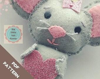 Felt Pattern- Felt-Mouse-Sewing Pattern Tutorial-Felt PDF Pattern-Felt Mouse Ornament-Felt Patterns-Decor pattern-DIY Gift
