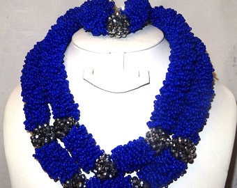Latest Beautiful Design Royal Blue with Ash Silver Balls Bridal Party Wedding Special Occassion Necklace Earring Jewellery Set