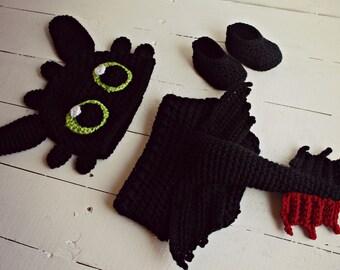 Crochet Dragon Photo Prop Set, Dragon Photo Prop, Dragon Baby Outfit, Dragon Baby Costume, Dragon Baby Hat, Dragon Hat, Dragon Tail, Dragon
