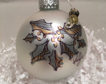 Gold and Silver Holly Ornament