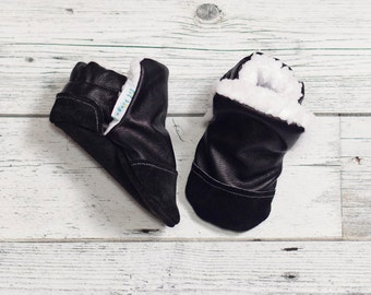 Faux leather and faux fur Baby Shoe,  Furlined Bootie, Soft Sole Baby Shoe, faux fur Baby Booties, Non Slip, Handmade,  Baby Moccasins