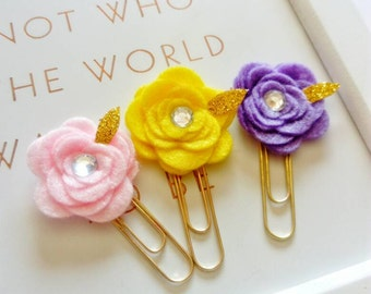 Planner accessories ~ cute paperclips ~ flower paperclip ~ felt handmade luxury paperclips.