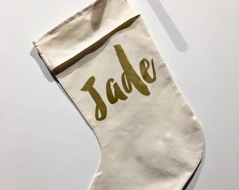 Personalised Calico Christmas Stocking with Gold or Black Lettering