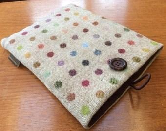 iPad Pro 9.7, iPad Air, iPad Air 2 case cover, British wool tweed, spots