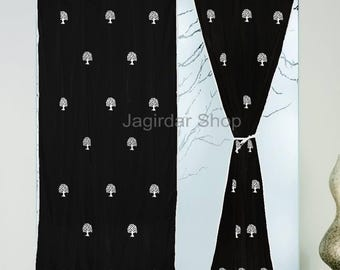 Door Curtains Panels Cotton Black Hand Block Printed Natural Tree Curtain Panels Windows Door 2pcs Set