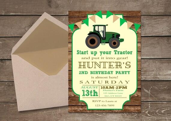 Tractor Birthday Invitation Farm Invitation Tractor