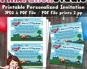 Personalized Printable Car, Plane, Train Party Invitation Digital File PDF and JPEG