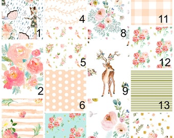 Baby bedding, pink floral, peach, crib sheet, girls baby, toddler bedding, watercolor flowers,  greenery, teal, blush, watercolor, leaf