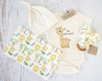 Organic Baby Clothes, Gender Neutral,  Organic Handmade Set, Baby Giraffe, Oh Hello World