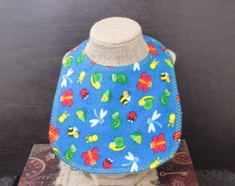 Happy Bugs Flannel Bib with Pearl Snap Mealtime Essentials Baby Gift Baby Shower Gift Drool Bib Baby Layette