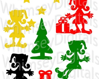 Christmas Girl Elf, svg Cut File, Digital Download, Vinyl Cutting, Santa's Helper Scrapbook Die Cut, Star, Present, Christmas Tree